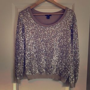 H&M grey/silver sequin sweater